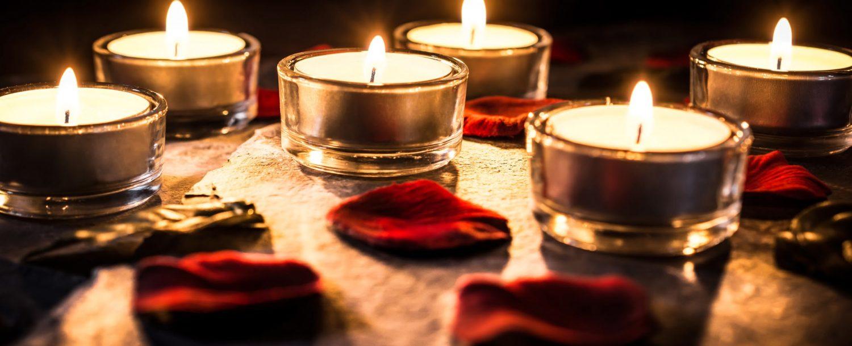 rose petals and candles